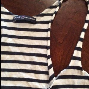 Brandy Melville Striped Blue and White Tank